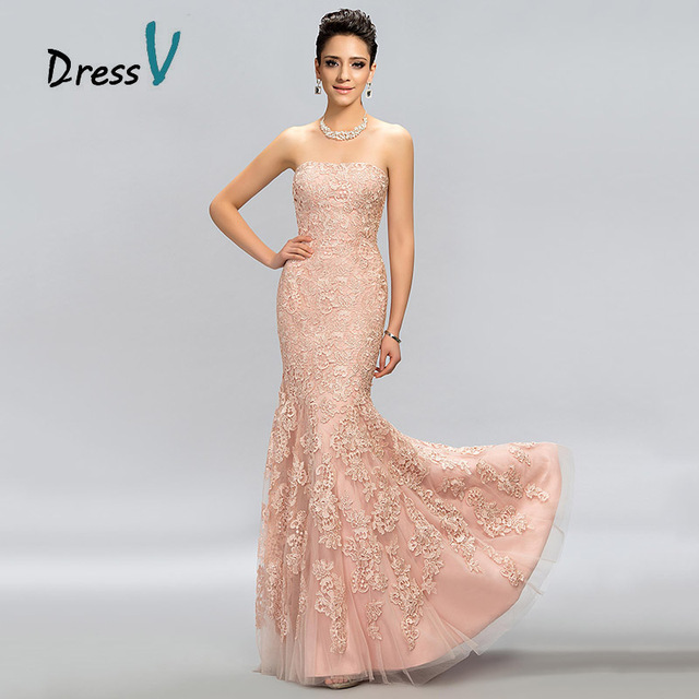 DressV Pink Lace Mermaid Long Evening Dress 2017 Strapless Trumpet ...