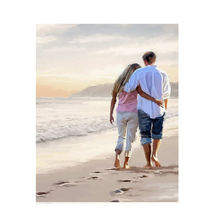 RIHE Beach Couple Diy Oil Painting Paint By Number Kit For Adult Kids Figure Numbers Living Room 16x20inch Gift