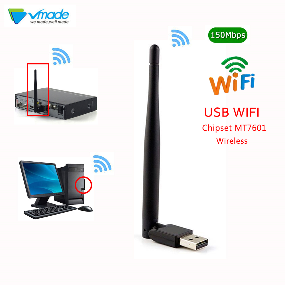 Vmade Mini Wireless Usb Wifi 7601  2.4Ghz Wireless 2dBi Wifi Adapter For DVB-T2 And DVB-S2 TV BOX WiFI Antenna Network LAN Card