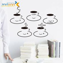 New Designs Coffee Cups Removable XL Quote Vinyl Wall Stickers Home Decor ZY8199 wall stickers home decor kitchen