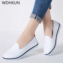WDHKUN 2019 Spring Women Flats Shoes Slip On Flat Loafers Leather Shoes Ladies Ballet Flats Boat Shoes Woman Shallow Shoes
