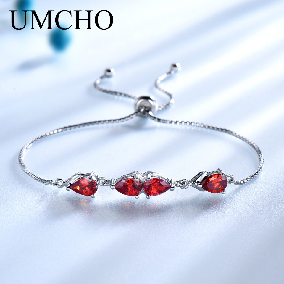 UMCHO 925 Sterling Silver Bracelets For Women Created Garnet Gemstone Box Chain Adjustable Bracelet Female Wedding Jewelry GiftUMCHO 925 Sterling Silver Bracelets For Women Created Garnet Gemstone Box Chain Adjustable Bracelet Female Wedding Jewelry Gift