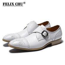 FELIX CHU Genuine Cow Leather Men Monk Strap Wedding Dress Shoes White Pointed Cap Toe Male Party Footwear 39-45 #E7185-17