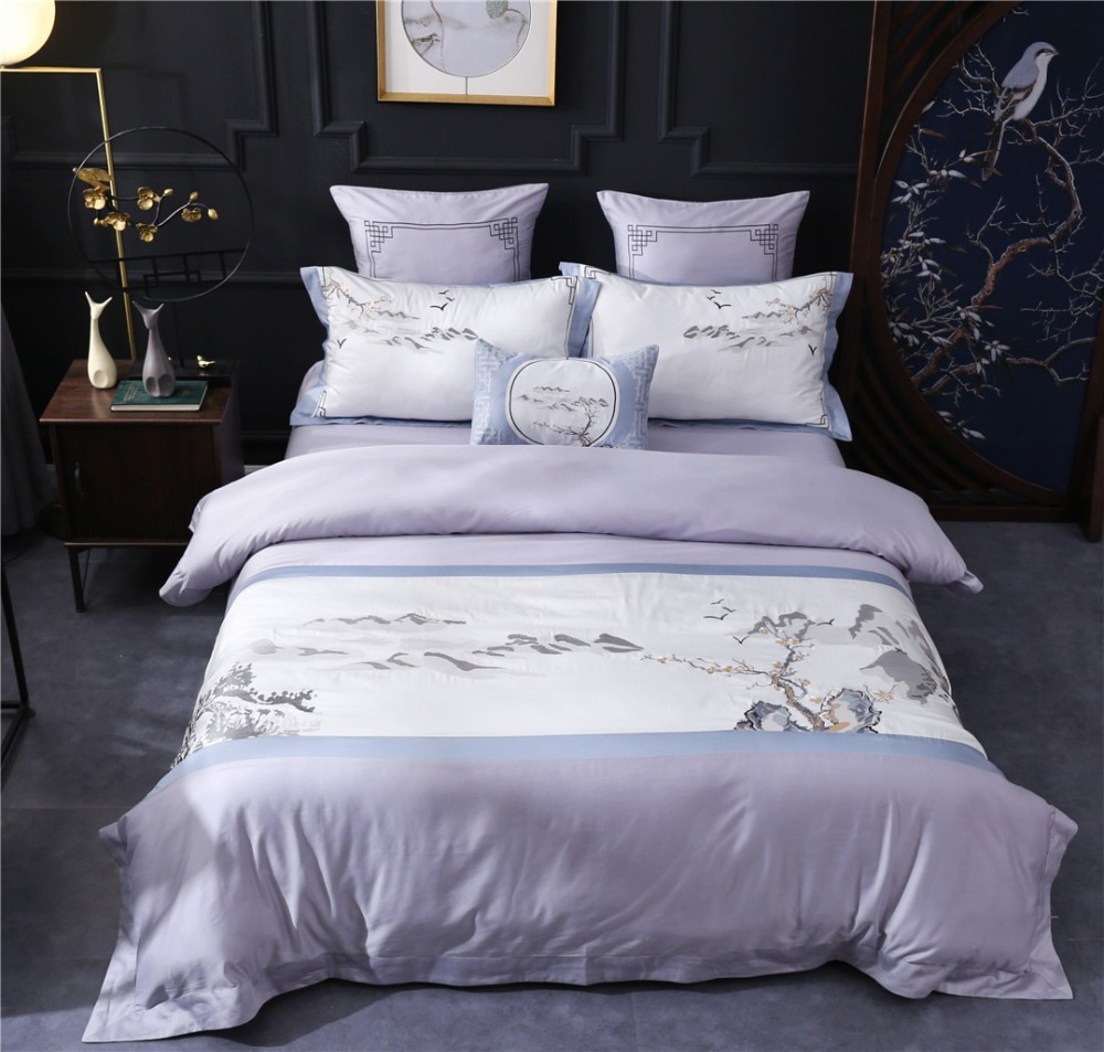 <font><b>Luxury</b></font> 80S <font><b>Egyptian</b></font> <font><b>cotton</b></font> <font><b>Bedding</b></font> <font><b>sets</b></font> Queen King Traditional Chinese Embroidered Duvet cover Bed sheet <font><b>set</b></font> Purple 4pcs 6pcs image