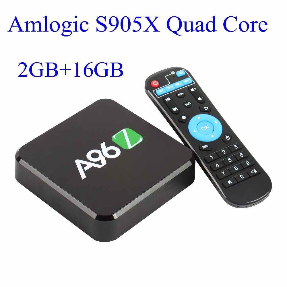 Prix pour 10 pcs A96Z Android TV Box 2 GB RAM 16 GB Android 6.0 Amlogic S905X Quad Core 2.4G Wifi Bluetooth 4 K * 2 K Full HD Smart Media lecteur