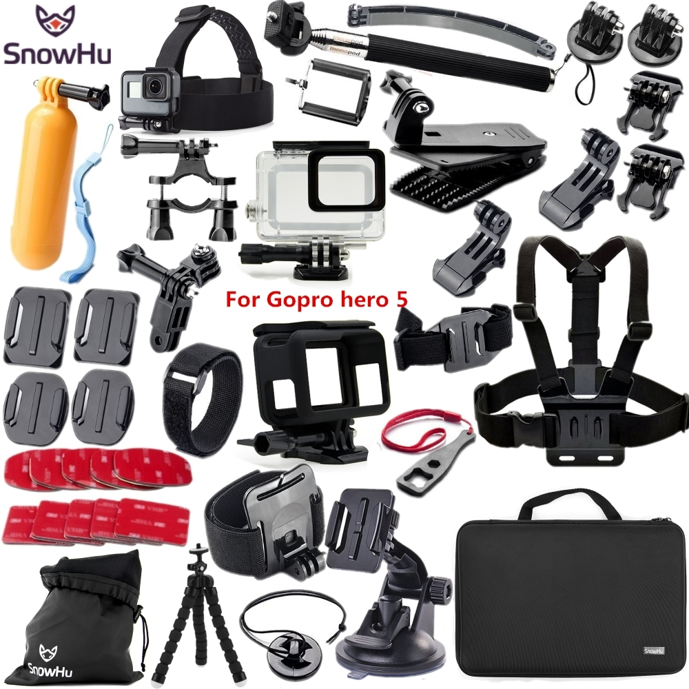 SnowHu for Gopro 5 accessories set For Gopro hero 5 waterproof protective case chest mount Monopod for go pro HERO 5 TZ41 go pro hero support kit accessories head chest wrist bag bike monopod for gopro mounts go pro hero 4 3 2