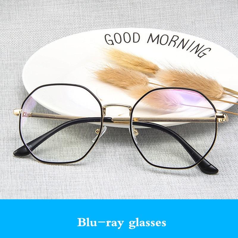 Anti-blue Metal Hexagon Optical Women Eyeglasses Frame Brand Design Glasses Computer Men Transparent Protective Glasses