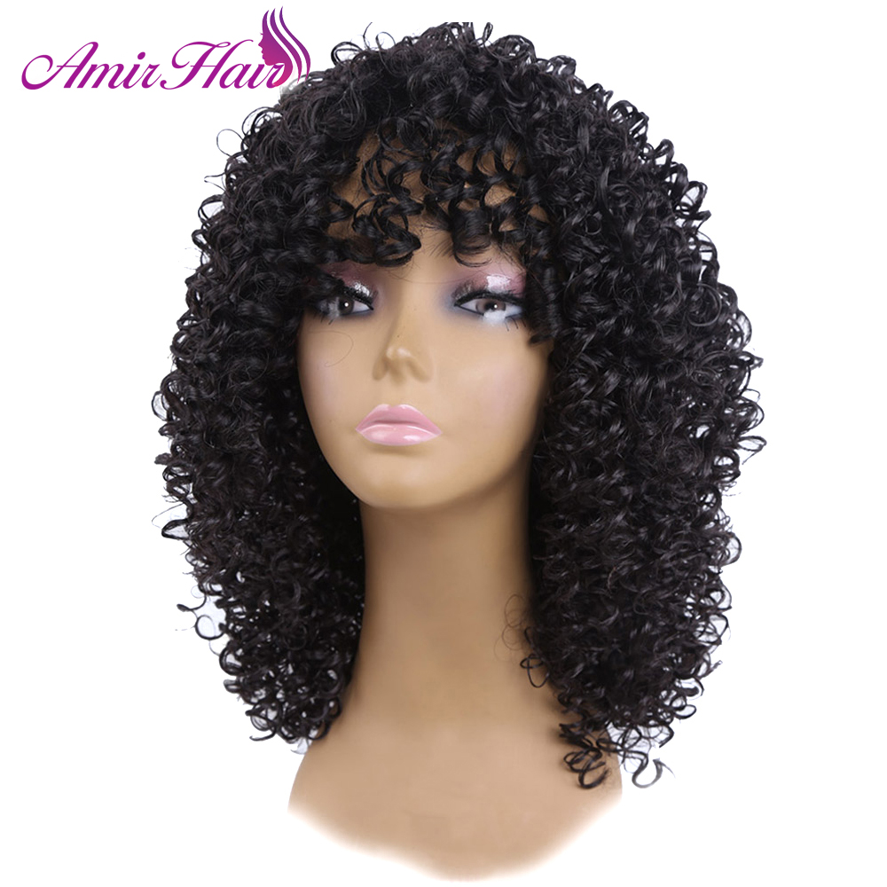 Medium Length Afro Kinky Curly Synthetic Full Wig Heat Resistant Fiber Hair Wigs For Women 16inch black Friday Cosplay wig