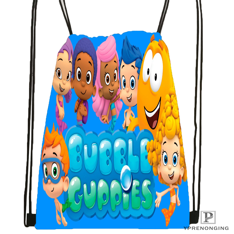 Custom Bubble Guppies  Drawstring Backpack Bag Cute Daypack Kids Satchel (Black Back) 31x40cm#180531-02-67
