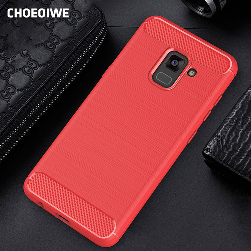 CHOEOIWE Soft Fitted Case for Samsung Galaxy A8 A7 A5 2018 J5 Prime J7 A3 2017 S8 S9 Plus S6 S7 Edge Armor Carbon Fiber Cover