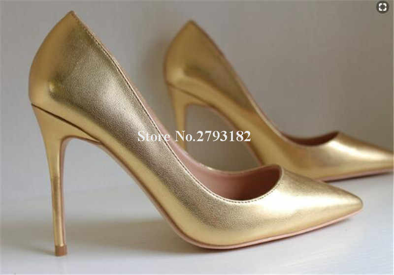 Marka Stil Kadın Moda Sivri Burun Altın Deri Stiletto Topuk Pompaları 12 cm Süper Yüksek Topuklu Resmi Elbise Ayakkabı Düğün ayakkabı