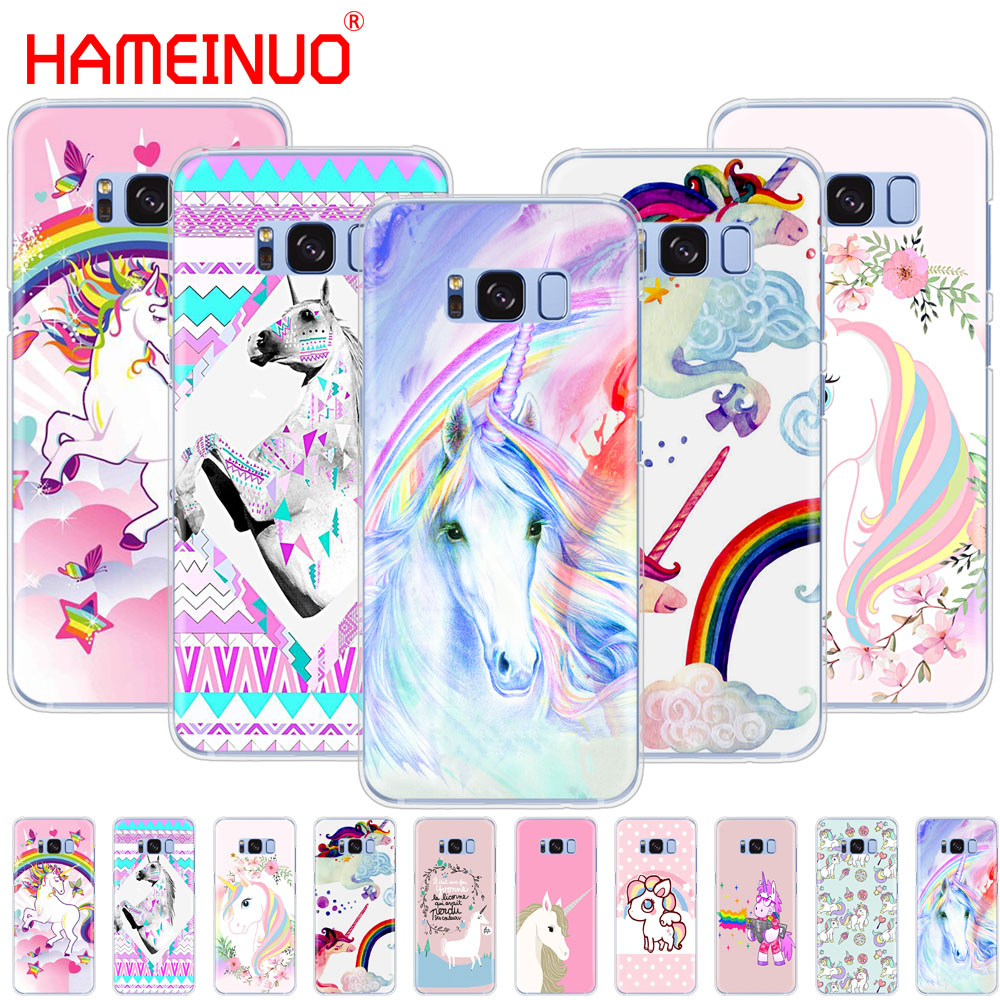 HAMEINUO Rainbow Lovely Unicorn cell <font><b>phone</b></font> <font><b>case</b></font> cover for <font><b>Samsung</b></font> Galaxy S9 <font><b>S7</b></font> edge PLUS S8 S6 S5 S4 S3 MINI image
