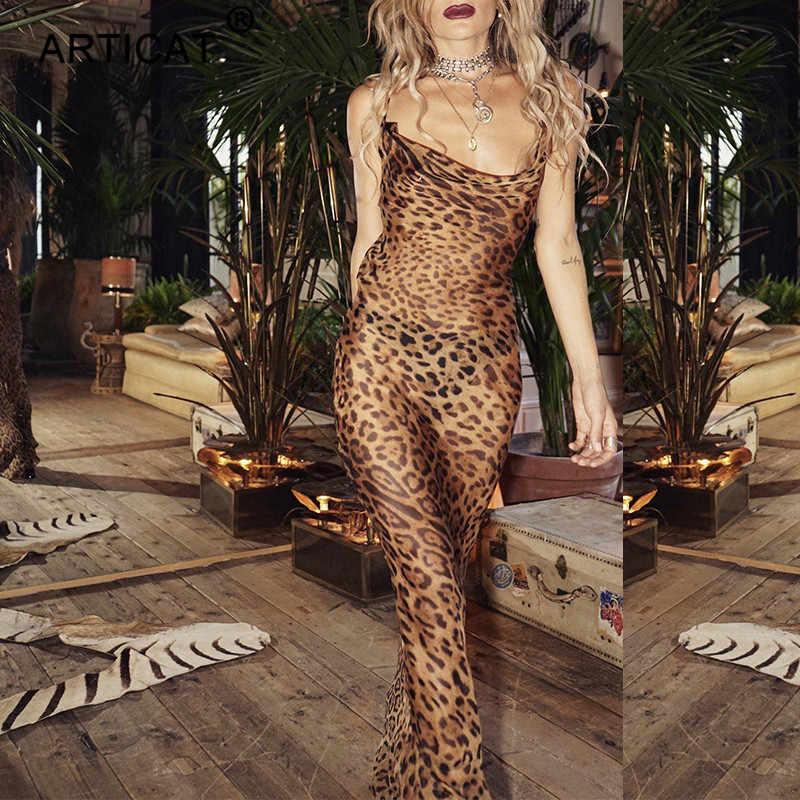Articat Sexy V шеи Leopard вечерние платье Для женщин Спагетти ремень спинки тонкий макси платье Летнее шифоновое Длинные пляжные платья