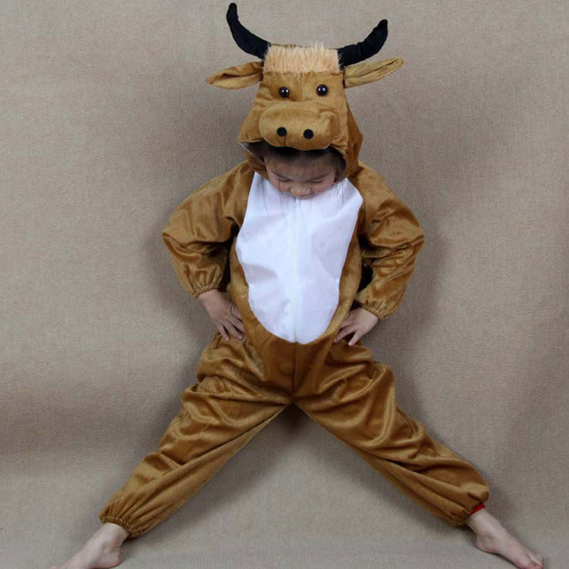 Umorden Cartoon Animal Yellow Cow Cattle Costume Performance Clothes Suit Children's Day Halloween Costumes for Children Kids