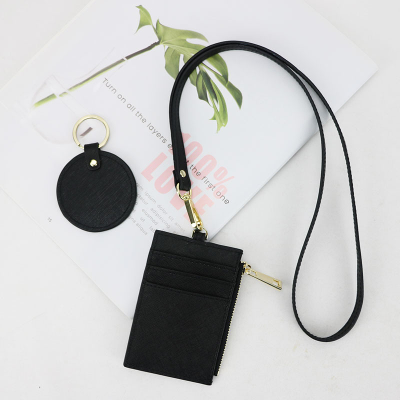 Monogrammed Initial Letters Saffiano Cow Leather Name Tag Men Card Holder Leather Lanyard ID Holder Ladies Retractable