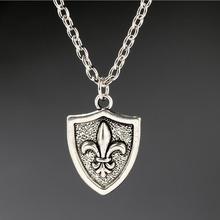 Fleur de Lis French Lily Flower Necklaces For Women Christmas Gift Vintage Pendant Necklace Choker Collier Design Silver Jewelry