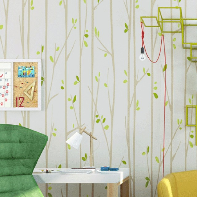 Beibehang Modern Simple Small Fresh Green Leaves Nonwovens Wallpapers Cartoon Vertical Striped Wallpaper