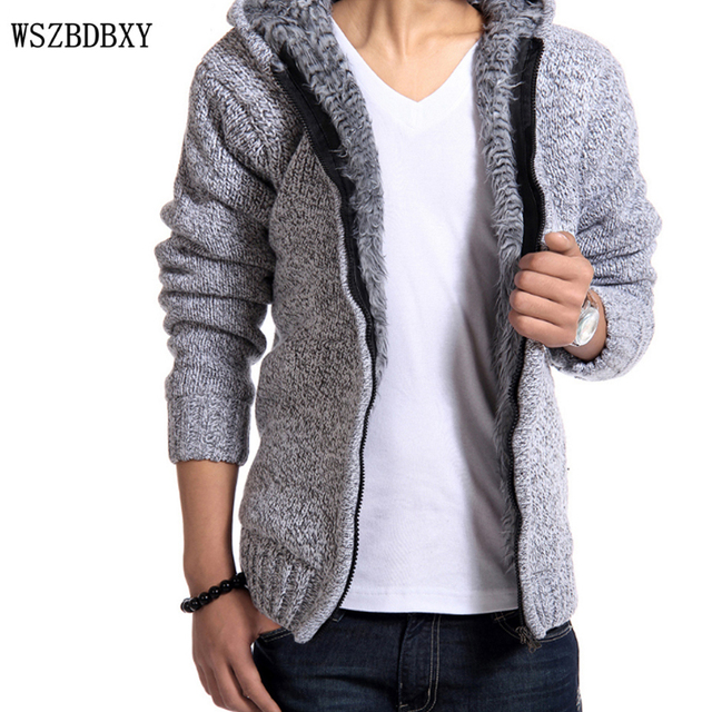 Sweater Vest Men 2017 Male Brand Casual Slim Sweater Men Hooded Zip Cardigan Hedging Men'S Sweater Mens Jumpers XXL OENG