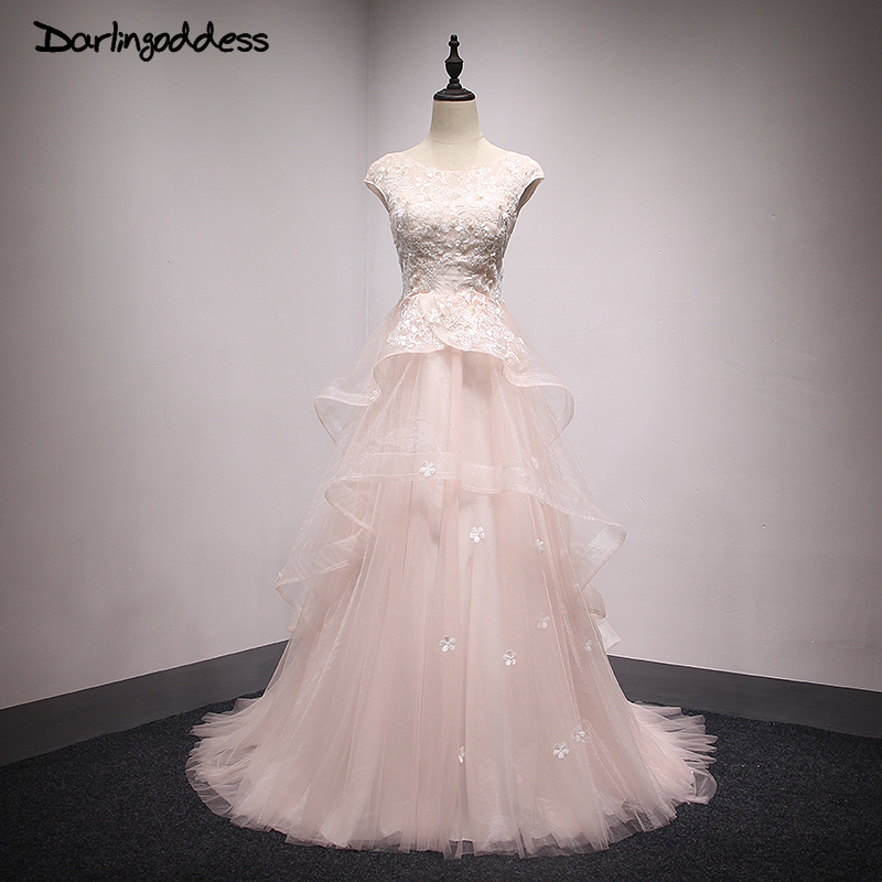 Champagne cheap tulle a line wedding dresses long vintage for Cheap champagne wedding dresses