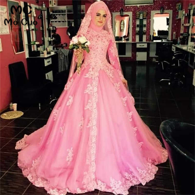 e8fe789780fe Detail Feedback Questions about Blush Pink 2018 Puffy Dubai Muslim wedding  dress with Long Sleeve Appliques Bridal Gowns Arabic Vestido De Noiva  Wedding ...