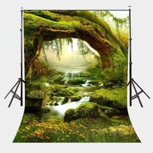 150x220cm Forest Morning View Backdrop Green Trees Grasses Slowly Flowing Streams Photography Background