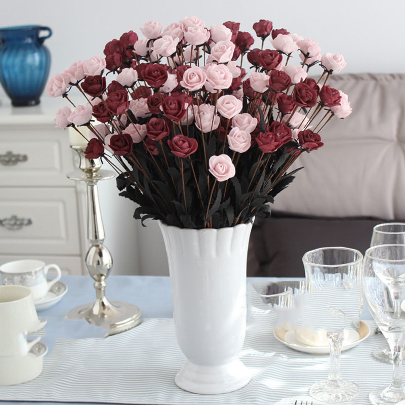 New Wedding Decoration 15 Heads Artificial Simulation Rose Flowers Vs Silk Flowers Newly Artificiales Flower For Mariage Party in Artificial Dried Flowers from Home Garden