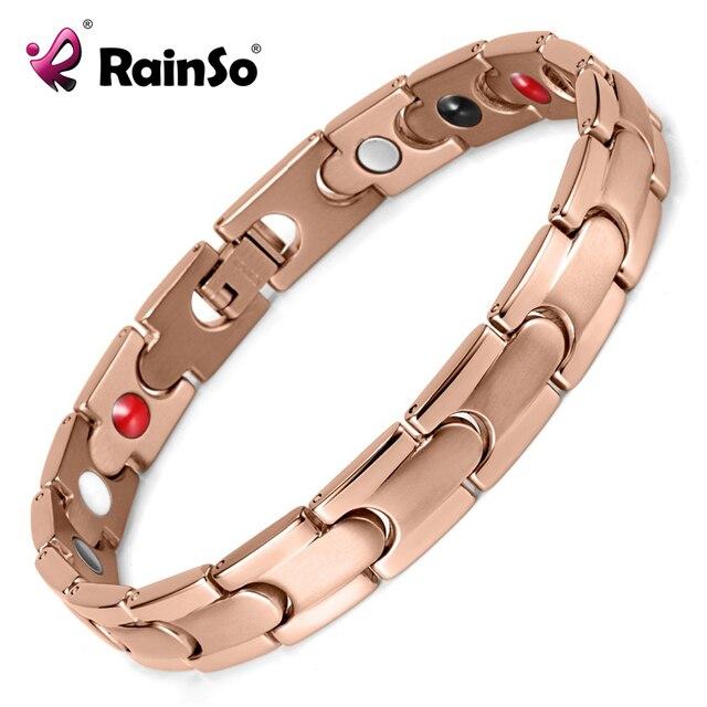 Free Shipping! Men's Titanium Bracelet Magnetic Bracelet Jewelry for Women Men High Quality Rose Gold Plated Bangle OTB-028RG