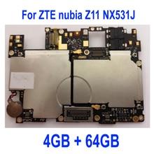 オリジナルのテストのための ZTE nubia Z11 NX531J マザーボードボードカード手数料チップセットフレックスケーブル部品、 4 ギガバイト + 64 ギガバイト