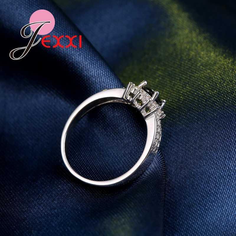 Luxo preto qnyx 925 prata esterlina duplo anel de dedo para mulher com pavimentado micro aaa zircão cúbico jóias atacado