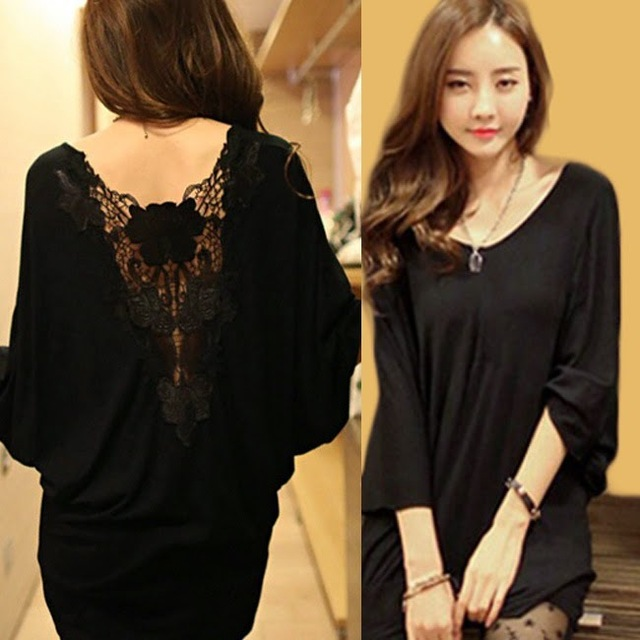 97e3de72d76 New Plus Size Sexy Stylish lace decora Hollow out batwing Dolman sleeve  backless Women s Casual loose T-shirt Black Tops Tee