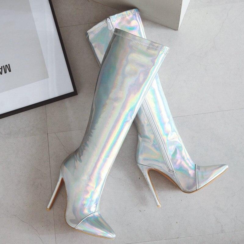 Or Haute Argent Genou Bout Cuisse Pu Talons Stiletto Femmes Bottes Zipper Botas Pointu argent Mujer Or Sexy Mstacchi Miroir De wzqUftC