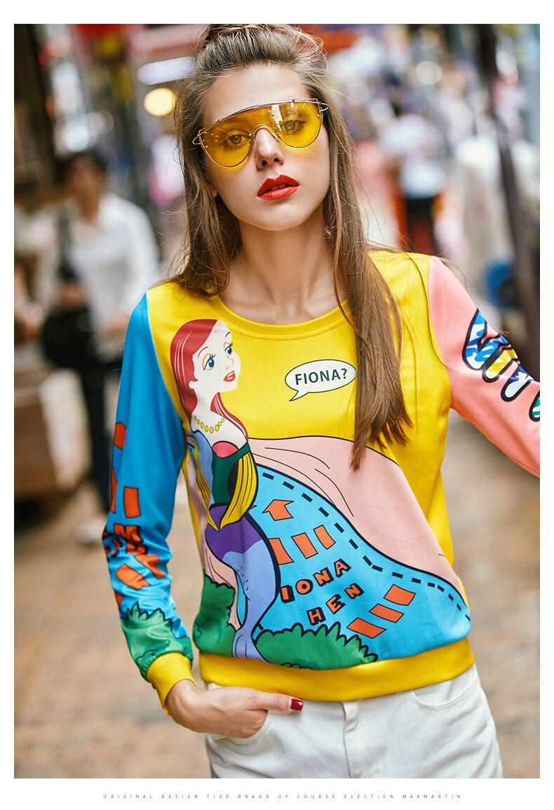 Para Mujeres Femenina Sudaderas Ns726 Blusas 2019 Impresa Animados Colorido Mujeres Primavera Jóvenes Letras Dibujos De Tops Mujer qvAwZwpP