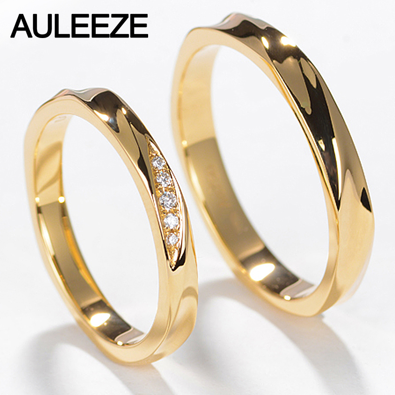 AULEEZE Couple Ring Real Diamond Jewelry Simple Classic Lovers Wedding Band 18K Yellow Gold Rings for
