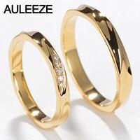 AULEEZE кольцо для пары, настоящее ювелирное изделие с бриллиантами, простое классическое обручальное кольцо для влюбленных, 18 K, кольца из желт