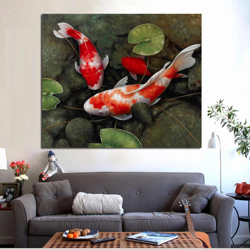 Chinese Koi Fish Lotus Canvas Prints Feng Shui Animal Landscape Painting Wall Art Picture For Living Room Moder Home decoration