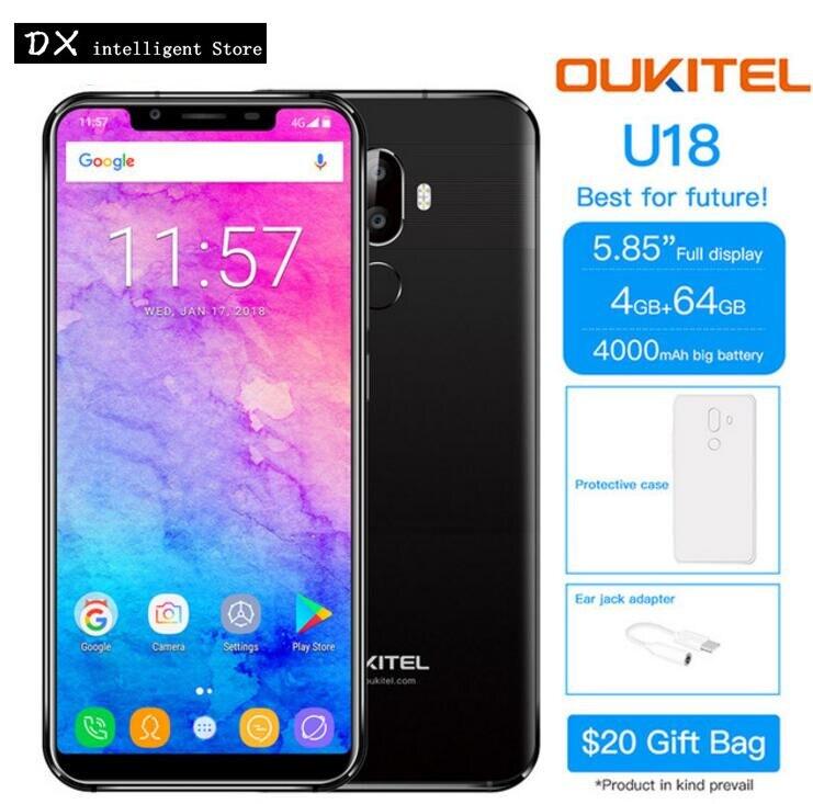 RU Bateau OUKITEL U18 Visage ID MTK6750T Octa Core 21:9 Plein Écran 5.85 pouce 4 gb + 64 gb 16MP android 7.0 D'empreintes Digitales 4g SmartPhone