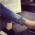 2016 новый Корейский ткань черепа джинсы шить тонкие джинсы женские ноги