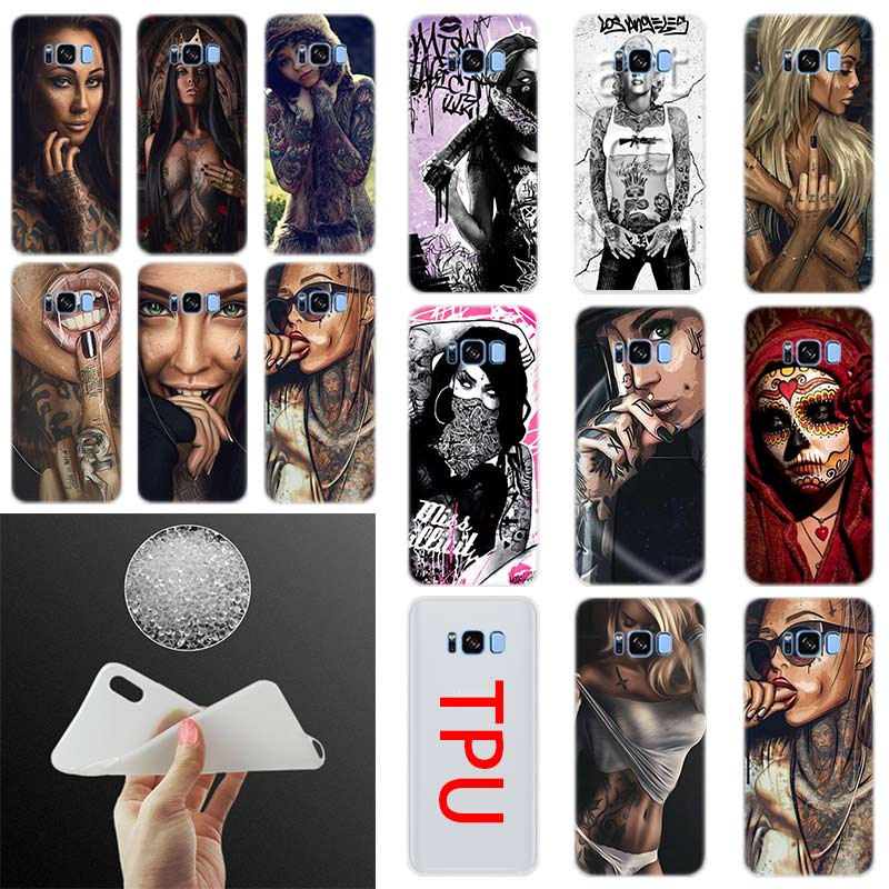 <font><b>Sexy</b></font> Sleeve Tattoo Girl Silicone <font><b>Case</b></font> Cover For Samsung Galaxy S10 Plus <font><b>S8</b></font> S9 Plus S7 S6Edge S5 Note 8 9 Phone S10 E S9 <font><b>S8</b></font> S7 S6 image
