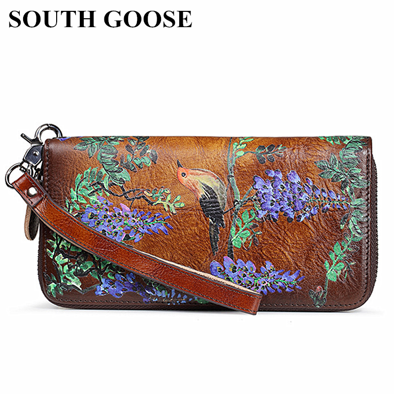 SOUTH GOOSE Genuine Leather Women Wallet Luxury Long Purse Birds Embossing Clutch Bag High Quality Female Card Holder Phone Bag