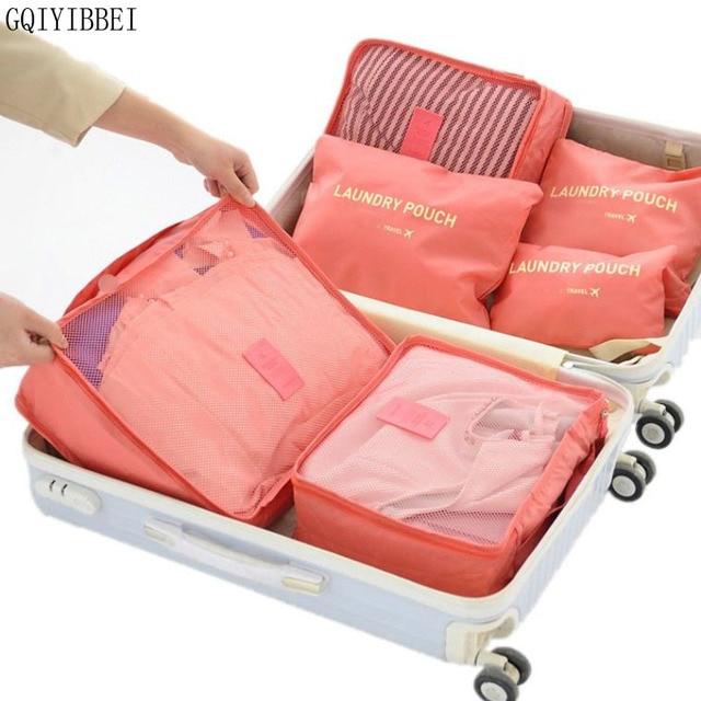 6 יחידות בית אחסון תיק ארגון אריזה פוליאסטר קוביית נסיעות שקיות בגדים מסודר פאוץ מזוודה הארון מפריד מגירת נייד