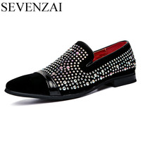 Men Rhinestones Dress Party Leather Italian Oxford Shoes Luxury Brand 2017 Unique Cool Spiked Male Footwear