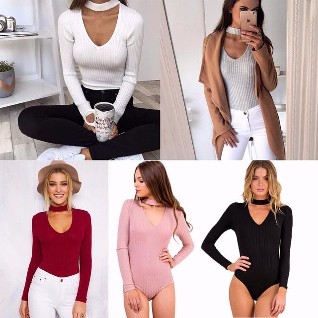 Populaire 2017 Tricoté moulante body ras du cou sexy club body hiver femmes  TL16