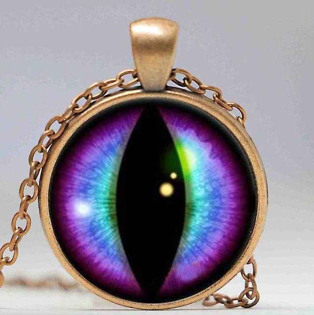 Metallic and matt colors Purple /& Blue Handmade Dragon Eye Necklace Keychain