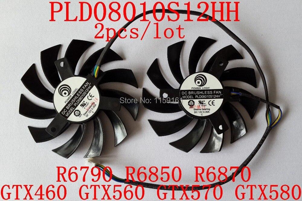 Անվճար առաքում PLD08010S12HH 2 հատ / լոտ 40x40x40 մմ 12V 0.35A համար GTX460 GTX560 GTX570 GTX580 R6790 R6850 R6870 Հովացման օդափոխիչ
