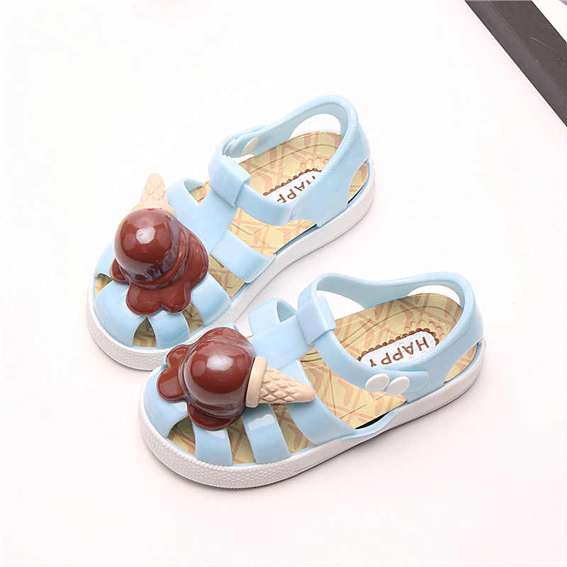 Mini Melissa 2018 New Arrival Ice Cream Girls Jelly Sandals Children Shoes  Baby Sandals Non- e7d10985577a
