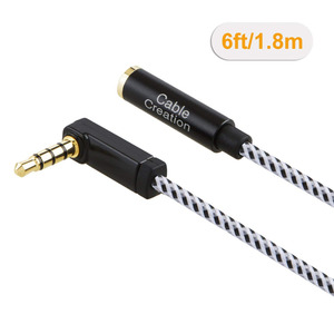 AUX Power Extension Cable Cord TRRS Auxiliary Male to Female Stereo Audio Extender Cable,Right Angle 4-Conductor Black&White