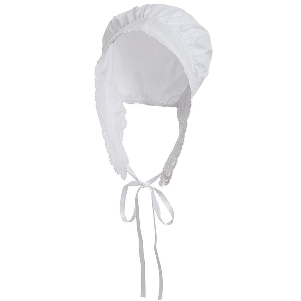White Bonnet Maid Hat Women Vintage MOP Headpiece