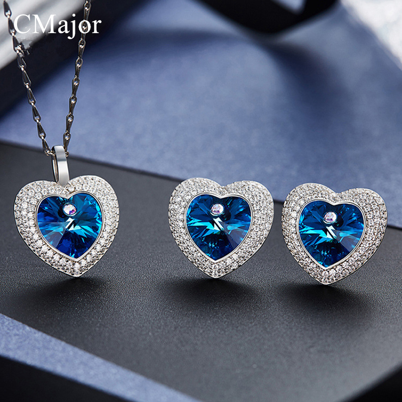 CMajor Romantic Crystals Jewelry Set for Women Birthday Gifts Heart Pendant Necklace Earrings Made With Purple & Blue Crystals stylish rhinestoned heart faux crystals beads tassel pendant necklace for women