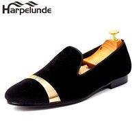 Harpelunde Slip On Men Dress Shoes Black Velvet Loafers With Gold Plate Handmnade Flat Shoes Size