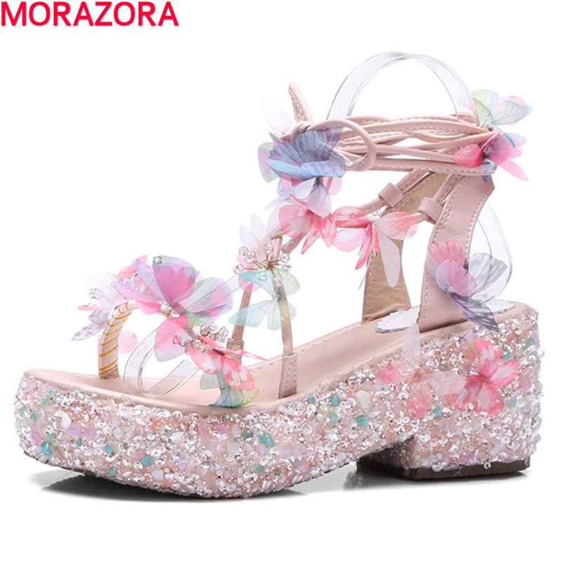 MORAZORA sweet lace up Rural style women sandals butterfly beading summer shoes fashion popular wedges shoes high heels genuine leather women sandals rural sweet style women shoes butterfly beading crystal wedges shoes high heel sandals dress shoes